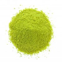 dry tea powder on white background