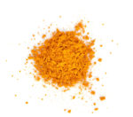 Turmeric (Curcuma) powder isolated on white background. Curry powder.